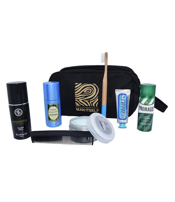 trousse toilette voyage - MAN ITSELF - Spécialiste des produits de soin visage, rasage, corps, cheveux, bouche, accessoires et idées cadeaux homme