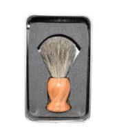 blaireau bois olivier fleur gris2 - MAN ITSELF - Spécialiste des produits de soin visage, rasage, corps, cheveux, bouche, accessoires et idées cadeaux homme