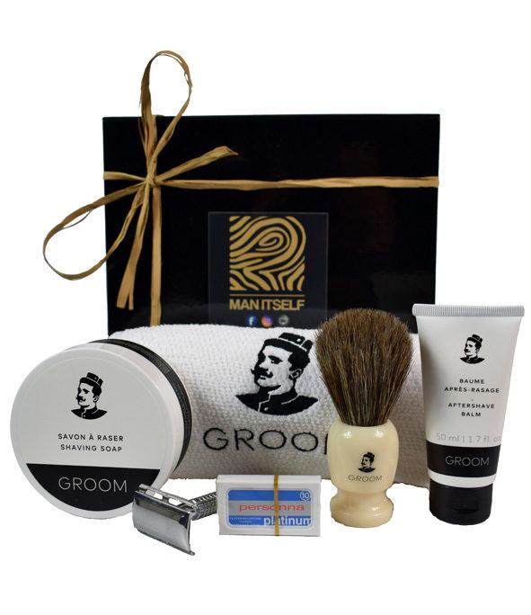 Coffret rasage ancienne 1 - MAN ITSELF - Spécialiste des produits de soin visage, rasage, corps, cheveux, bouche, accessoires et idées cadeaux homme
