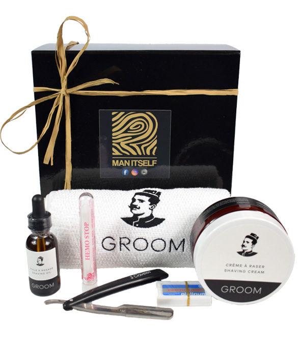 Coffret rasage naturel serviette - MAN ITSELF - Spécialiste des produits de soin visage, rasage, corps, cheveux, bouche, accessoires et idées cadeaux homme