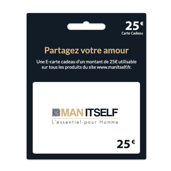 man itself carte cadeau 25 - MAN ITSELF - Spécialiste des produits de soin visage, rasage, corps, cheveux, bouche, accessoires et idées cadeaux homme